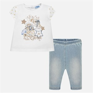 0-36 Months Mayoral T-shirt and jeggings set for baby girl