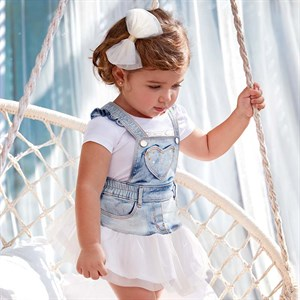 0-36 Months Mayoral Tulle dungaree skirt for baby girl