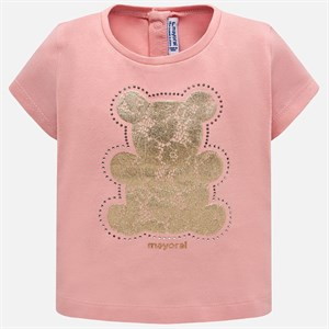 0-36 Months Mayoral Short sleeved t-shirt with lace bear design