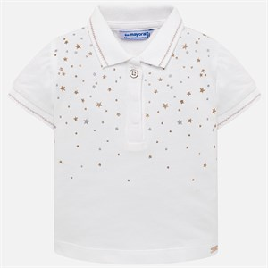 0-36 Months Mayoral Short sleeved star polo shirt for baby girl