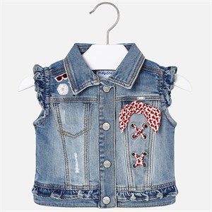 2-9 Years Mayoral Sleeveless denim jacket with bandana