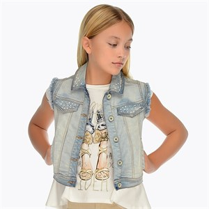 Mayoral Sleeveless denim jacket for girl