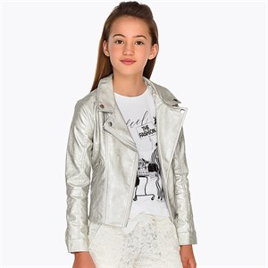 Mayoral Leatherette jacket with lapel collar for girl